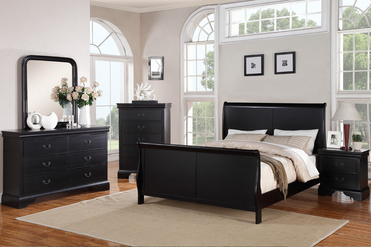 Bedroom Furniture Modern Black Queen Size Bed Dresser Mirror Nightstand 4pc  Set Curved Panel Sleigh Bed