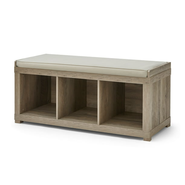 Better Homes and Gardens 3-Cube Organizer Storage Bench, Rustic Gray