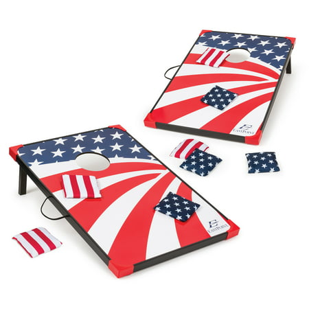 EastPoint Sports Stars and Stripes Cornhole, Bean Bag Toss Game Set; Reinforced Edges and Corners; Bags Glide on Easy-Slide Surface; Boards Attach Together for Transport; Includes 8 Bean (Best Plywood For Cornhole)