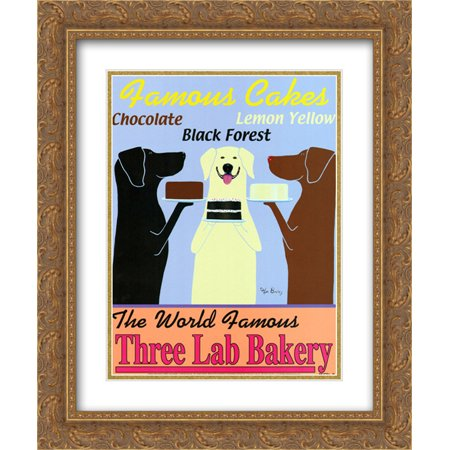 Three Lab Bakery 2x Matted 15x18 Gold Ornate Framed Art Print by Ken Bailey
