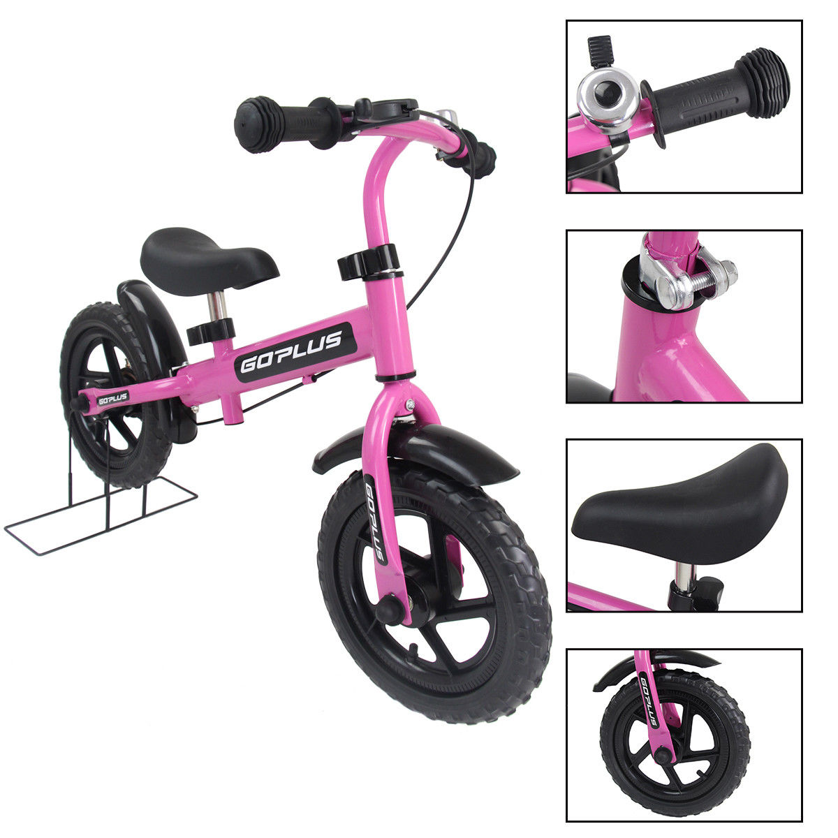 Goplus 12'' Pink Kids Balance Bike Children Boys & Girls with Brakes and Bell Exercise