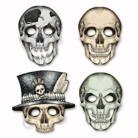 Club Pack of 48 Spooky Skeleton Halloween Masks 10.5