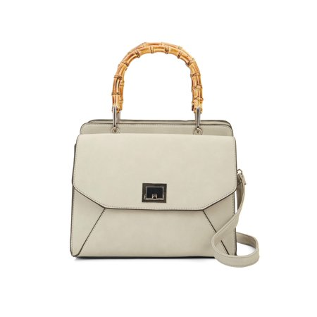 VR NYC Maya Bamboo Handle Satchel With Front Flap Lock Pocket Flap Lock Bags