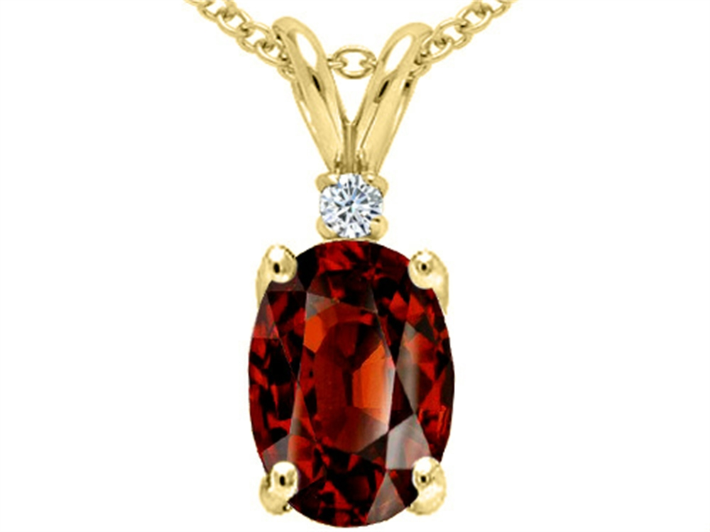 Tommaso Design Oval 8x6 mm Genuine Garnet Pendant Necklace by