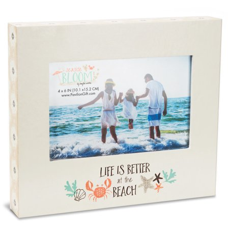 Pavilion - Life Is Better At The Beach - Floral Patterned Self Standing Beach House 4x6 Picture (Picture Framing Boynton Beach)