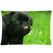 "YKCG Black Funny Pug Dog Rectangle Pillowcase Standard Size 20""x30"" Twin Sides, Lovely Animal Puppy Dog Pillow Case Cover Decorative"