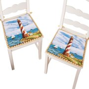 nautical red and white kitchen lighthouse foam chair pads with ties set of 2. beautiful ideas. Home Design Ideas