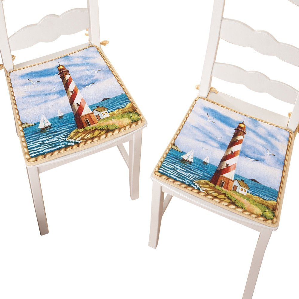 nautical red and white kitchen lighthouse foam chair pads with ties set of 2