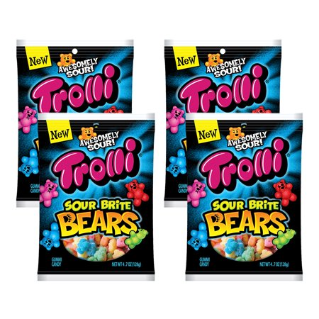 (4 Pack) Trolli Sour Brite Bears Candy, 4.7 Ounce Bag