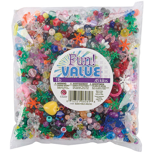 Cousin Fun Value Pack Mixed Plastic Beads 16 oz, Assorted