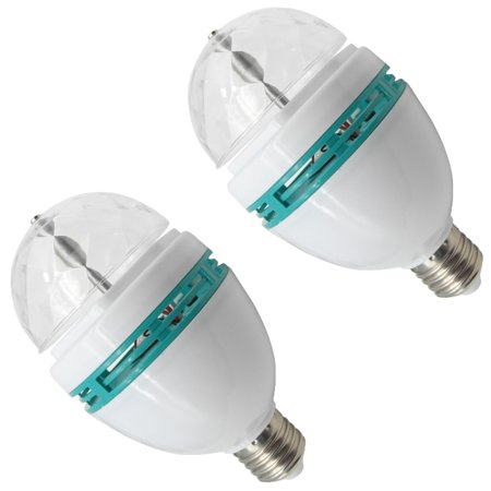 TrendBox 1 Pair E27 3W LED Full Color Rotating Auto Crystal Ball Bulb AC 85-260V Sound Activated Mini Party Light Lamp Energy Saving Disco