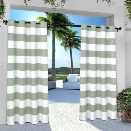 Indoor/Outdoor Cabana Stripe Grommet Top Window Curtain Panel Pair Sea Foam (54u0022x96u0022) Exclusive Home