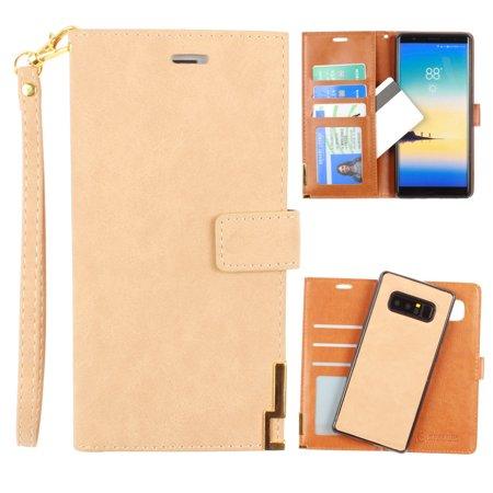 Metal Wristlet (CellularOutfitter Samsung Galaxy Note 8 Ultrasuede Wallet Case - Metal Trimmed Design w/ Detachable Slim Case and Wristlet - Tan )