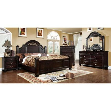Furniture of America Grande 4-Piece Dark Walnut Bedroom Set Cal. King