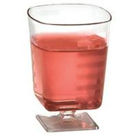 2 Oz Plastic Pedestal Square Wine Glasses,Case of 180 EA