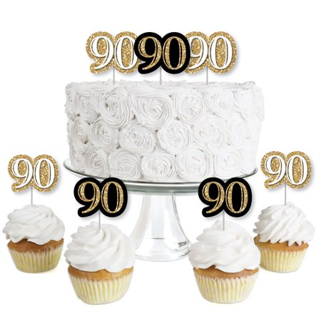 Adult 90th Birthday - Gold - Dessert Cupcake Toppers - Birthday Party Clear Treat Picks - Set of 24 - Motorcycle Cupcake Picks