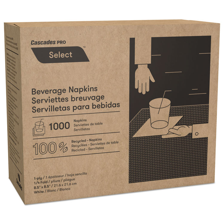 Select Beverage Napkins, 1 Ply, 8 1/2 X 8 1/2, White, 1000/pk, 4000/carton