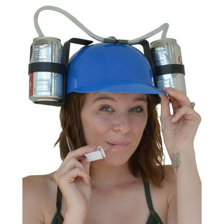 Beer & Soda Guzzler Helmet & Drinking Hat, Blue - Soda Jerk Hats