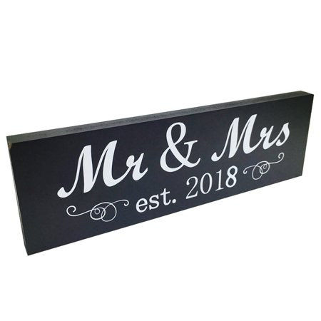 Mr & Mrs 2018 Sign Wood Sweetheart Table Wall Decoration for Wedding Anniversary Photo Props Party Banner (Silver Wedding Anniversary Banners)