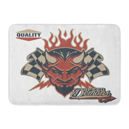 GODPOK Demon Black Race Vintage Devil Checkered Flags Racing White Car Speed Rug Doormat Bath Mat 23.6x15.7 inch
