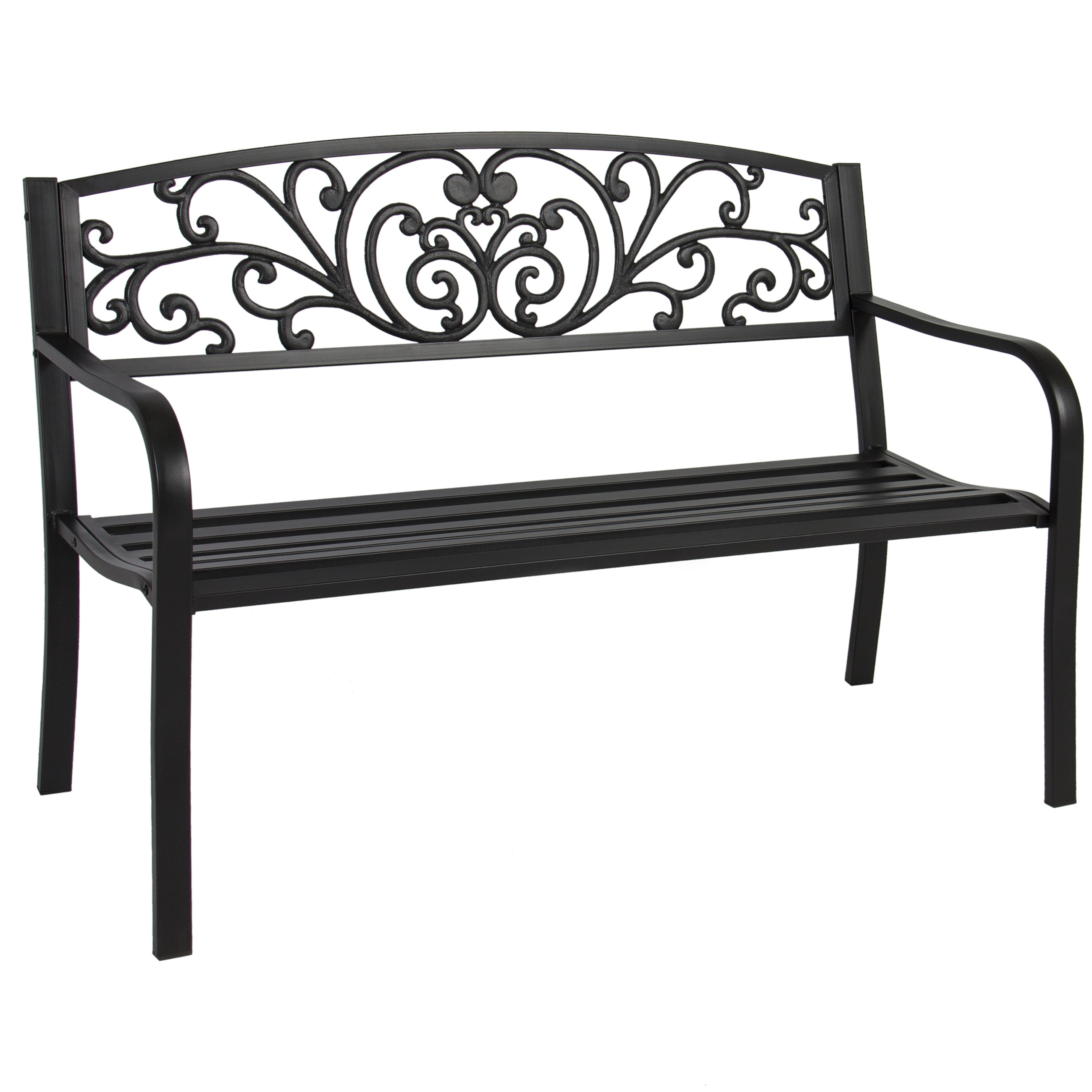 Best choice products 50in outdoor patio garden bench park yard furniture porch chair w steel frame black walmart com