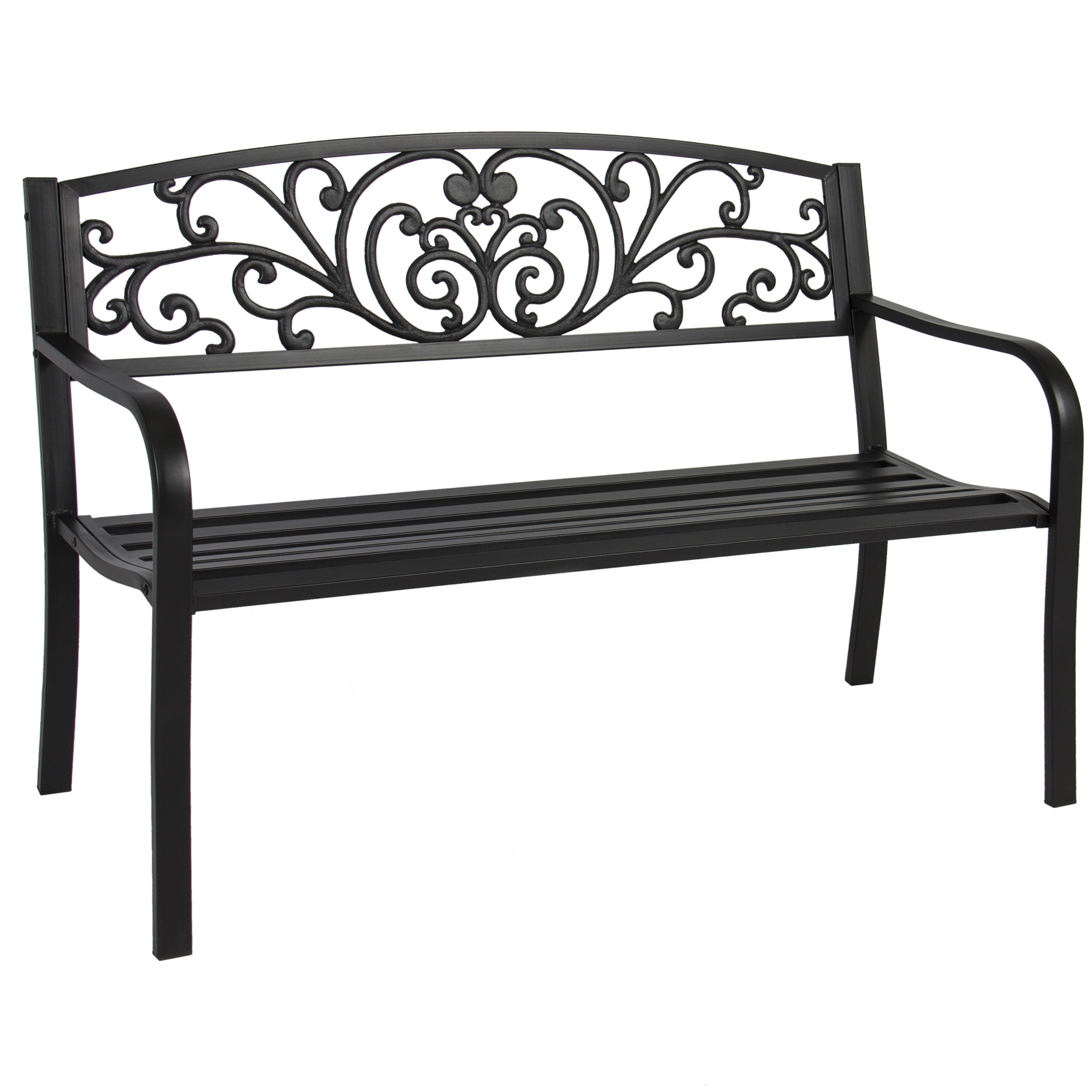 "Best Choice Products BCP 50"" Patio Garden Bench Park Yard Outdoor Furniture Steel Frame Porch Chair"