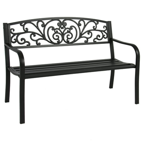 Best Choice Products 50in Steel Outdoor Park Bench Porch Chair Yard Furniture w/ Floral Scroll Design, Slatted Seat for Backyard, Garden, Patio, Porch - Black