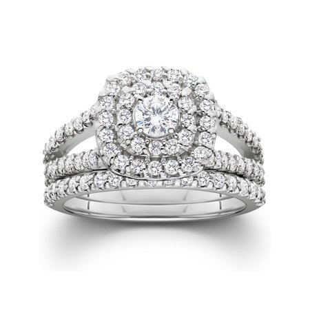 Pompeii3 1 1/10ct Cushion Halo Solitaire Diamond Engagement Wedding Ring Set White