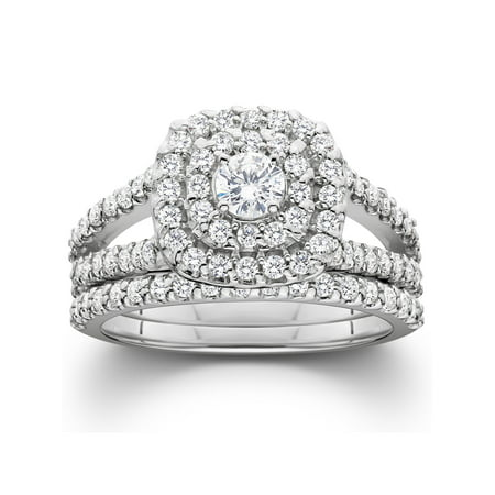 Pompeii3 1 1/10ct Cushion Halo Solitaire Diamond Engagement Wedding Ring Set White (Wedding Ring With Diamonds All The Way Around)