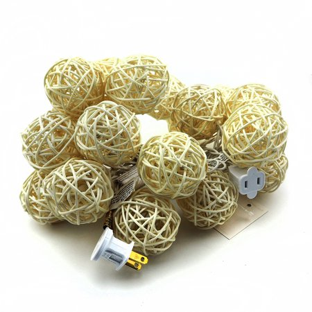 20 LED White Rattan Ball String Light Wedding Party Fairy Lamp Xmas Room Decor White ()