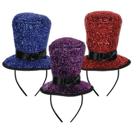 Club Pack of 12 Sparkling Top Hat Decorative Headbands