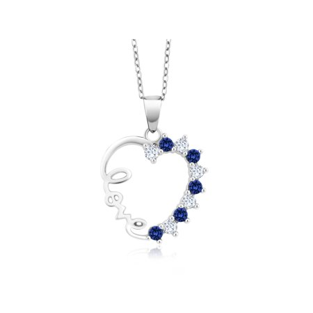 Created Blue Sapphire Pendant (Sterling Silver Created White & Blue Sapphire Heart LOVE Pendant On 18