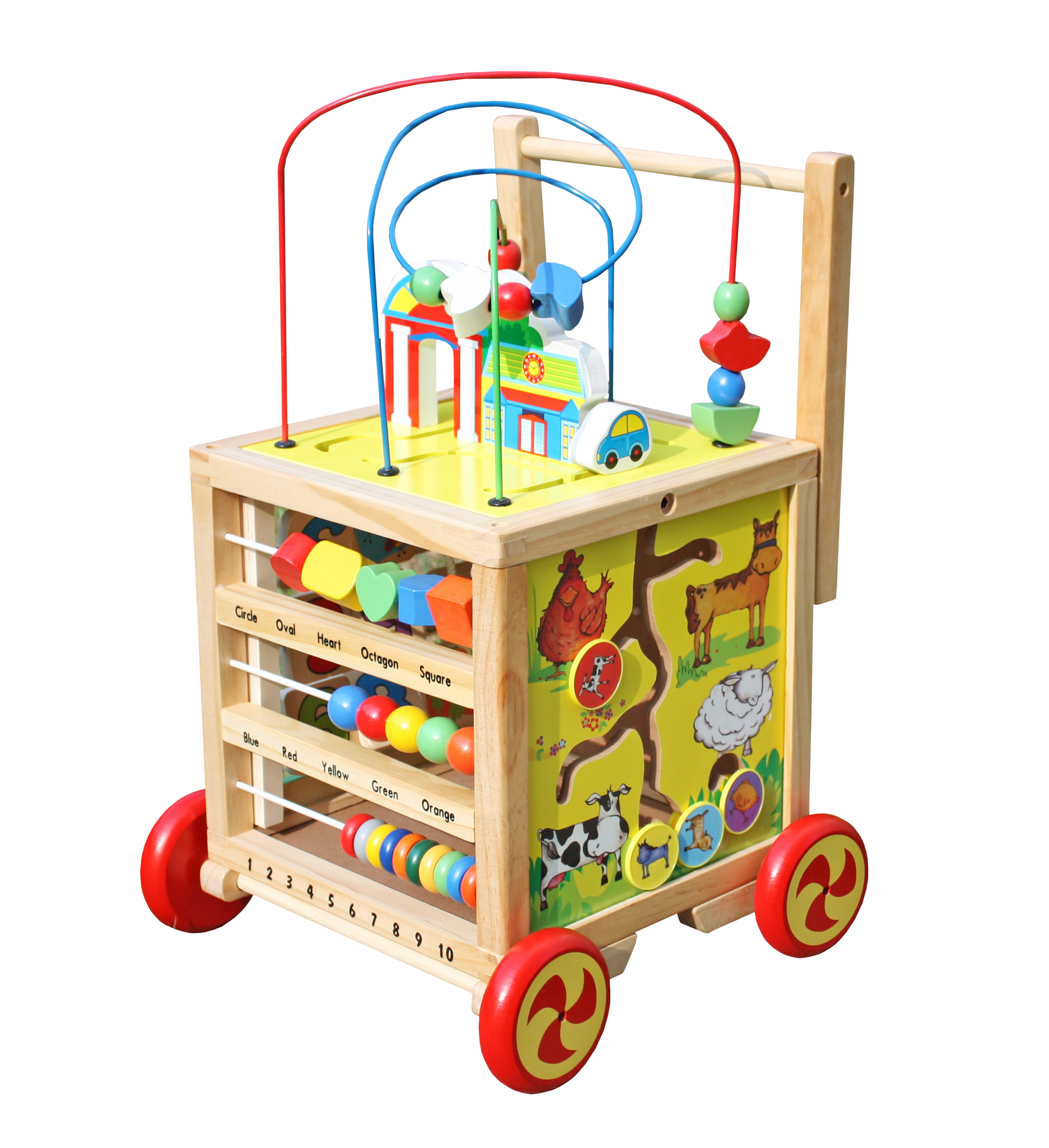 Timy Wooden Learning Bead Maze Cube 5 in 1 Activity Center