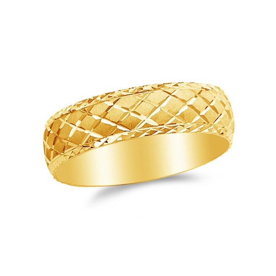 14k Yellow Gold 6mm Diamond-Cut Men's Wedding Band Ring , Size 10