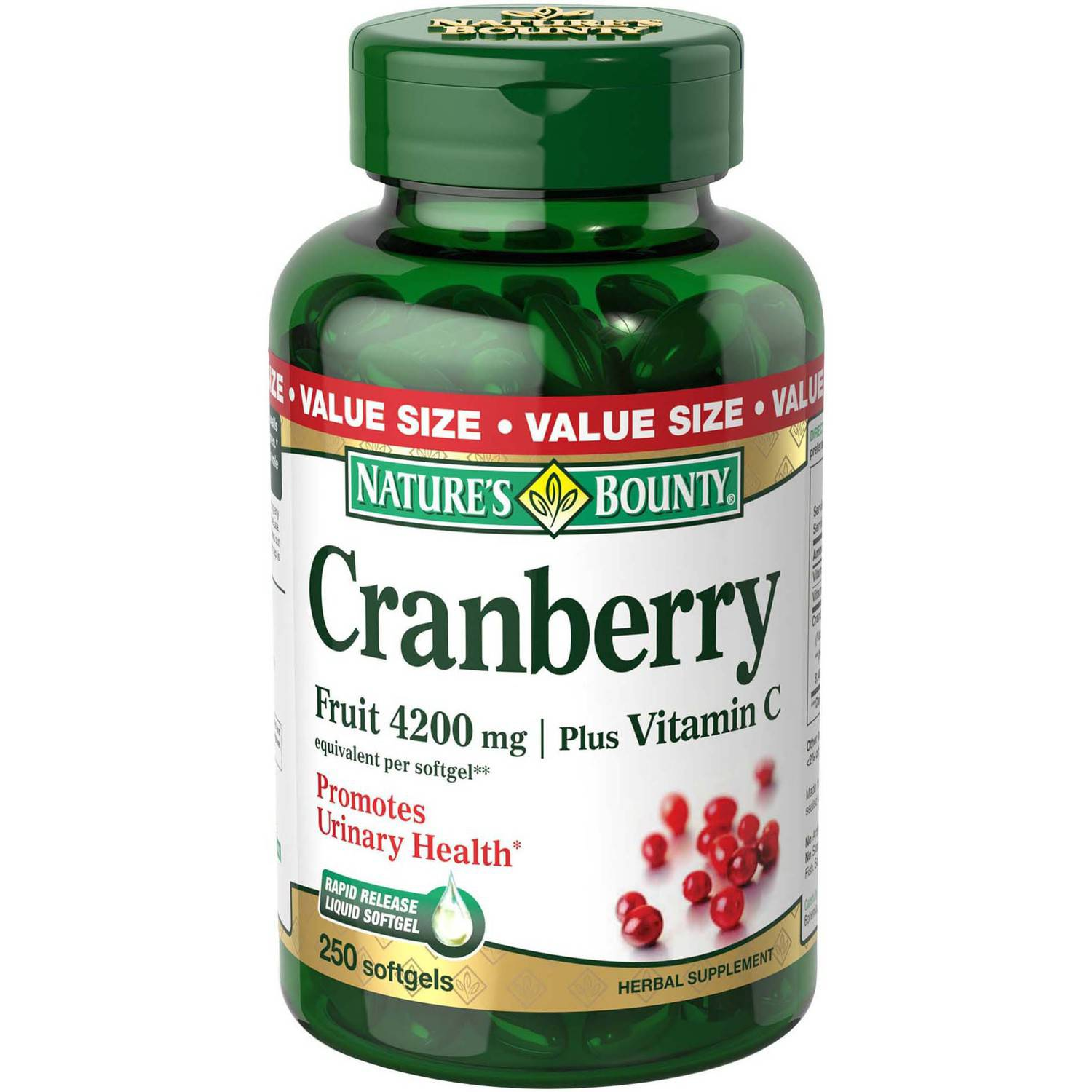 Nature's Bounty Cranberry Fruit plus Vitamin C Herbal Supplement Softgels, 4200mg, 250 count