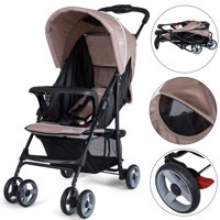 5-Point Safety System Foldable Lightweight Baby Stroller Coffee