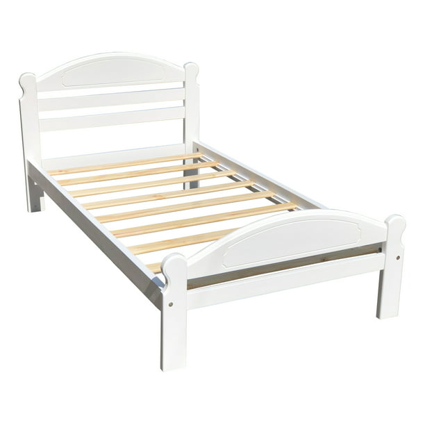 Twin Xl Bed White Finish Arizona Wooden, How Large Is A Twin Bed Frame