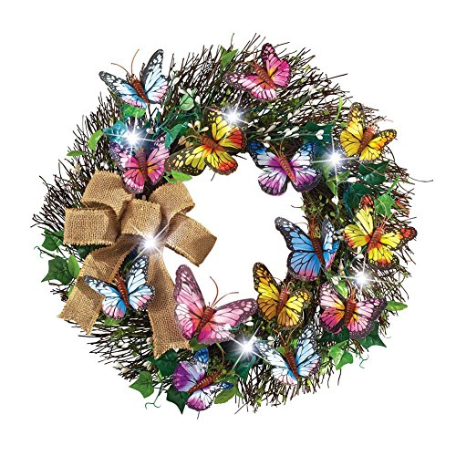 Led Lighted Butterfly Wreath