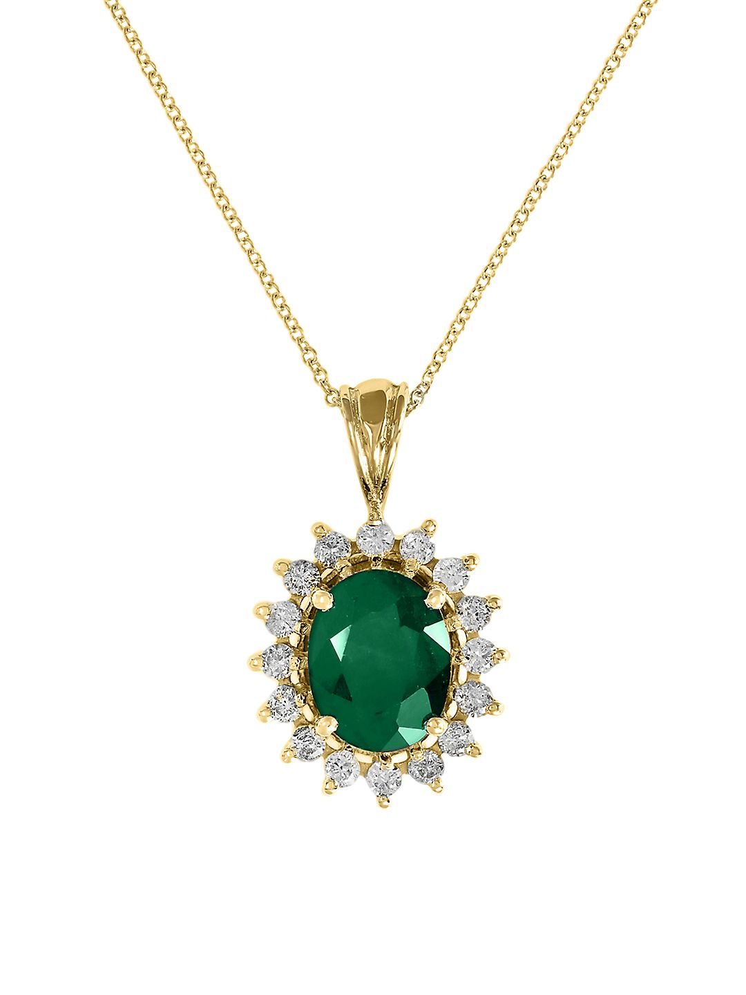 14K Yellow Gold, Diamond and Emerald Pendant Necklace