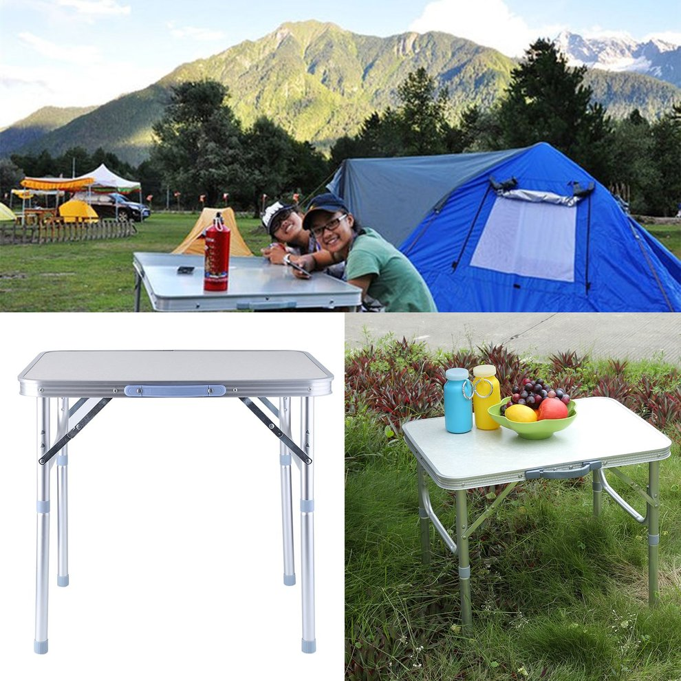 Portable Lightweight Height Adjustable Folding Table Indoor Outdoor Picnic Party Dining Camping Table With Handle by Sunrain