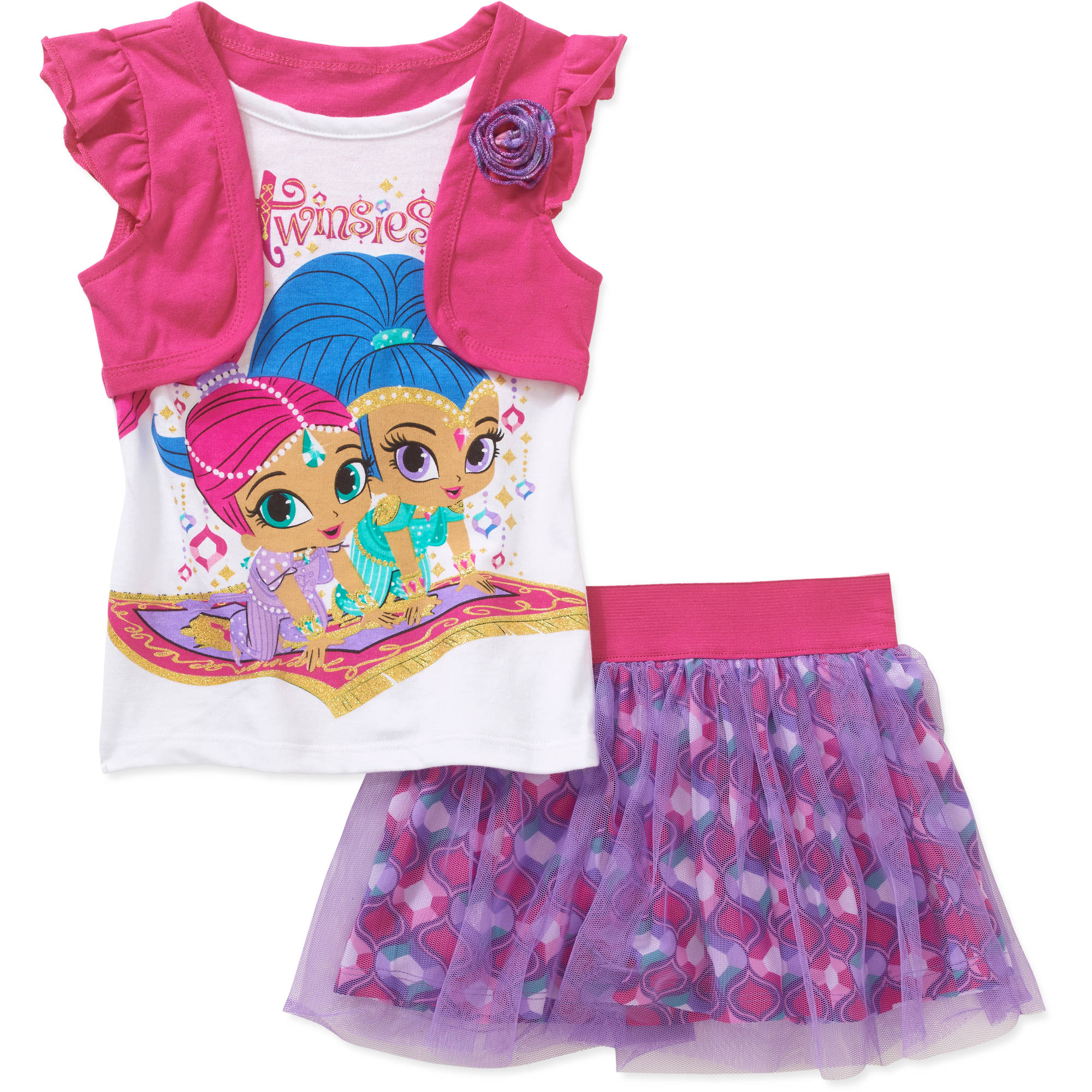 Shimmer & Shine Toddler Girls' Tee and Scooter Set