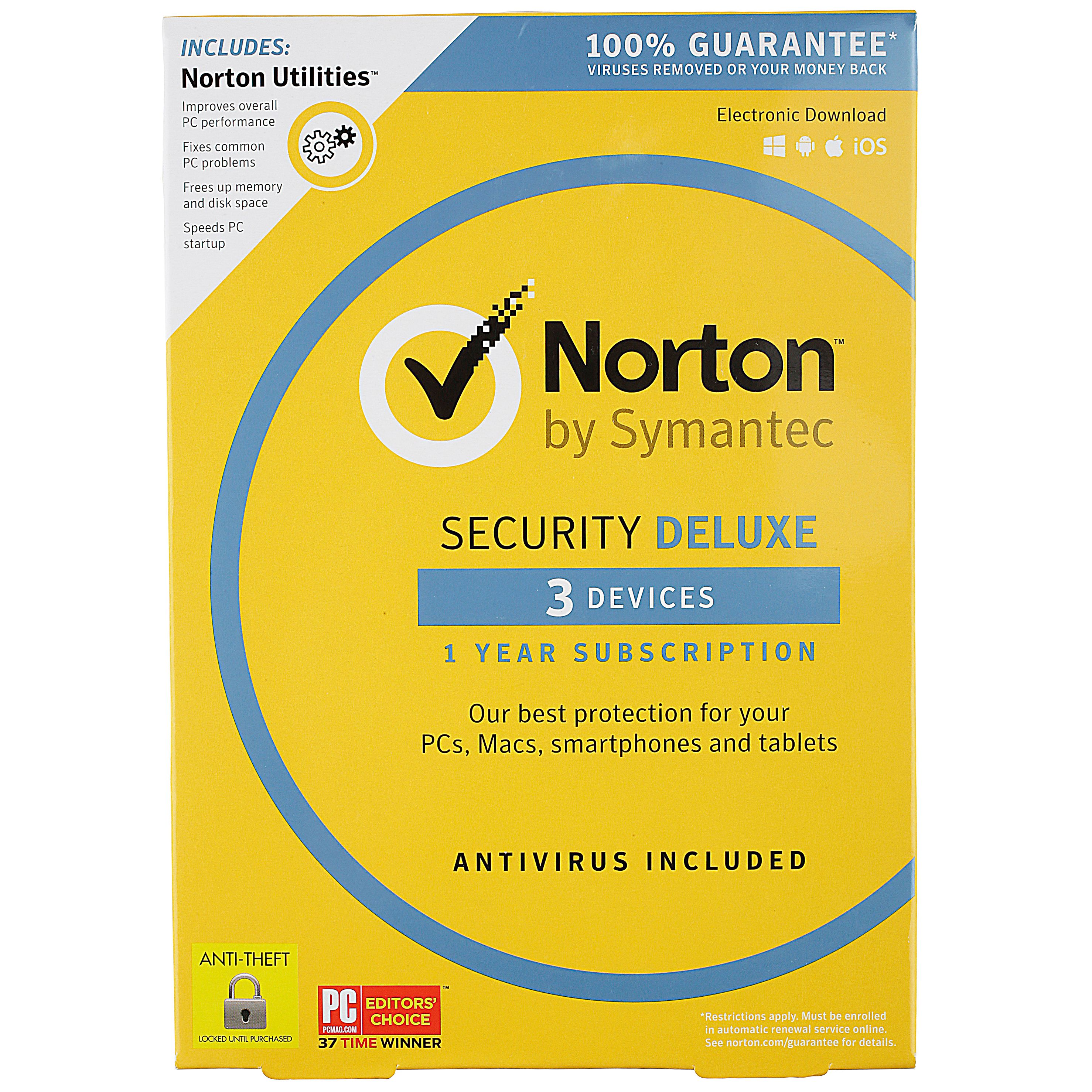 Norton by Symantec Security Deluxe 1 Year Subscription 3 Devices