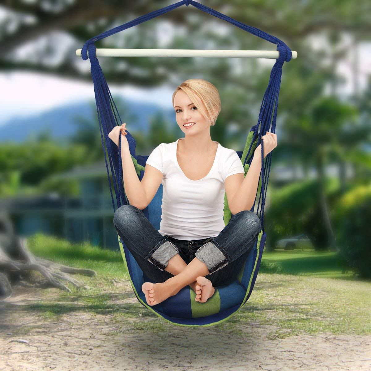 UBesGoo Hanging Rope Blue Hammock Chair Swing Seat for Any Indoor or Outdoor Spaces