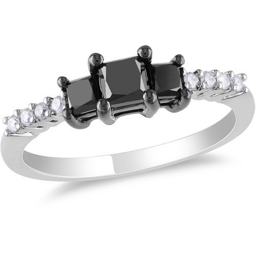 1 Carat T.W. Princess Cut Black and White Diamond Engagement Ring in 10kt White Gold