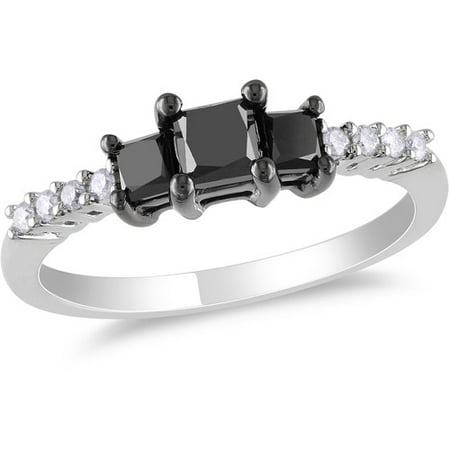 1 Carat T W  Princess Cut Black And White Diamond Engagement Ring In 10Kt White Gold