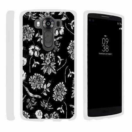 LG V10   G4 Pro, [SNAP SHELL][White] 2 Piece Snap On Rubberized Hard White Plastic Cell Phone Case with Exclusive Art - Black White Flowers