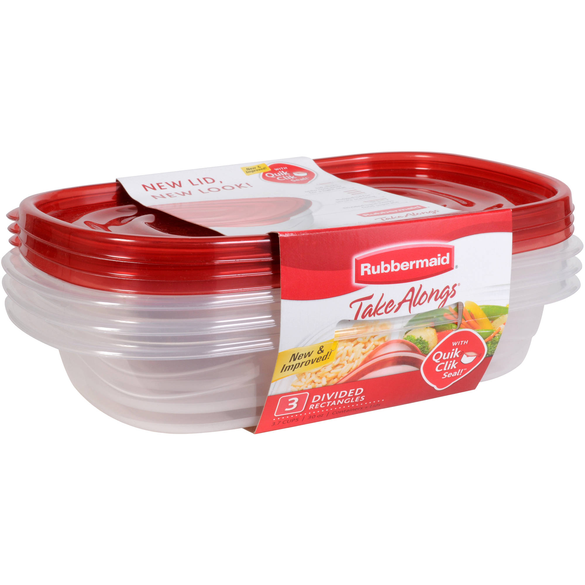 Rubbermaid TakeAlongs Divided Rectangle Containers, 3 count