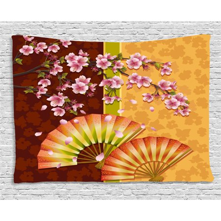 Floral Tapestry, Sakura Blooms with Japanese Hand Fan Figures Authentic Asian Design, Wall Hanging for Bedroom Living Room Dorm Decor, 60W X 40L Inches, Marigold Baby Pink Burgundy, by - Asian Fans