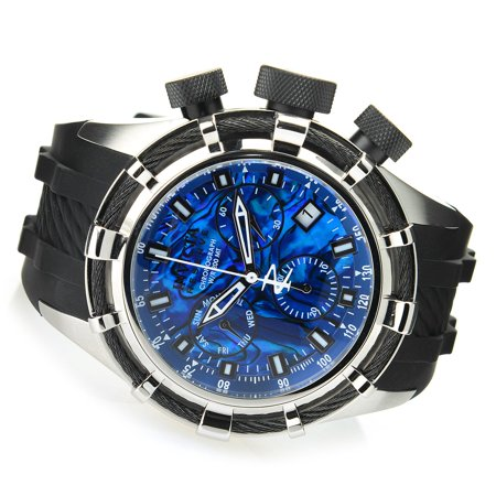 Reserve Men's 50mm Bolt Quartz Chronograph Abalone Dial Watch Blue ()