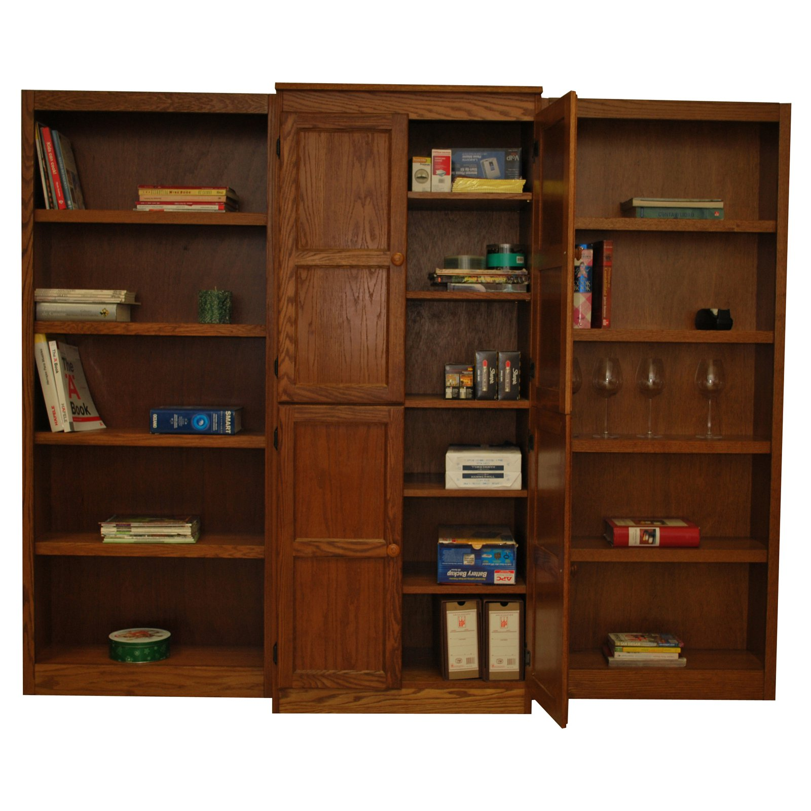15 Shelf Bookcase Wall with Doors, 72 inch Tall - Oak Finish